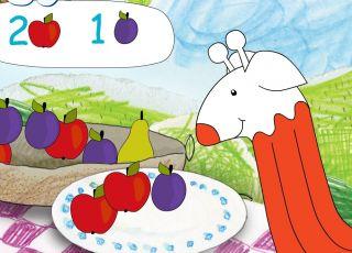 gra online, nauka liczenia, gra do nauki liczenia, liczenie owoców