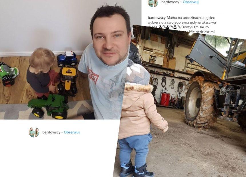 Grzesiek Bardowski bawi się z synkiem Jasiem