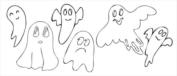 kolorowanki na Halloween duchy