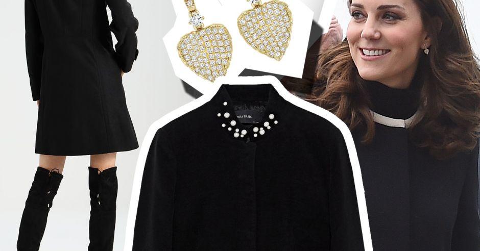 inspiracja dla ciężarnych księżna kate w czarnym płaszczu.jpg