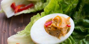 jajko faszerowane, pasta, tuńczyk, danie, potrawa, kuchnia