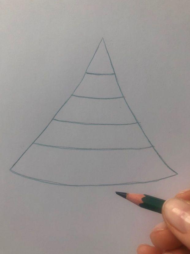 Jak narysować choinkę krok 1