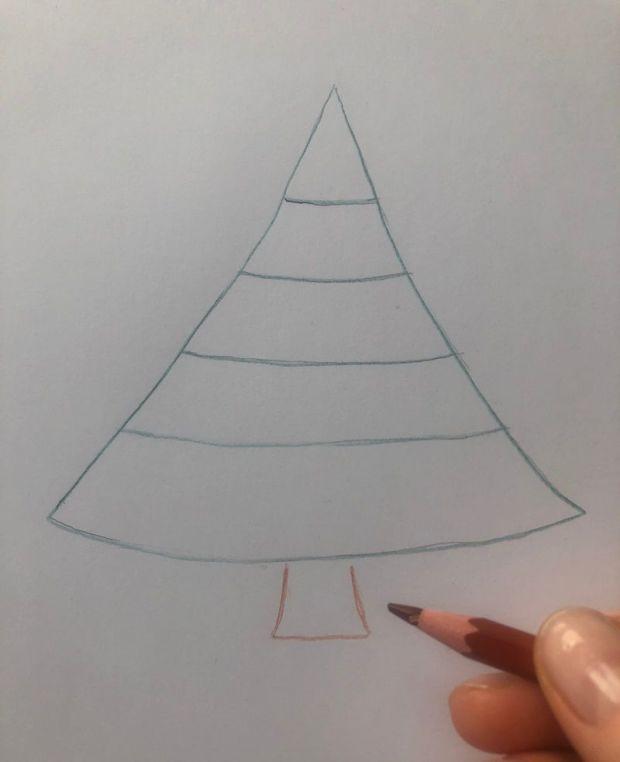 Jak narysować choinkę krok 2