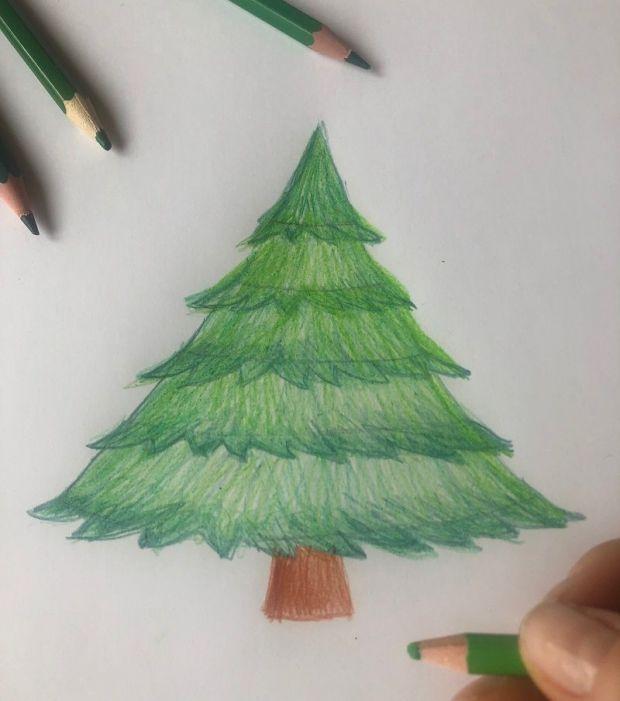 Jak narysować  choinkę krok4