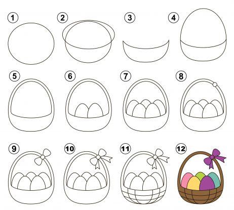 jak narysować koszyczek wielkanocny krok po kroku instruktaż