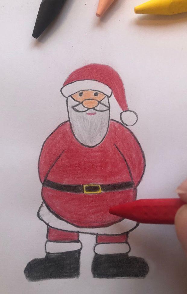 jak się rysuje świętego Mikołaja