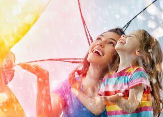 jesień, dziecko, mama, deszcz, radość