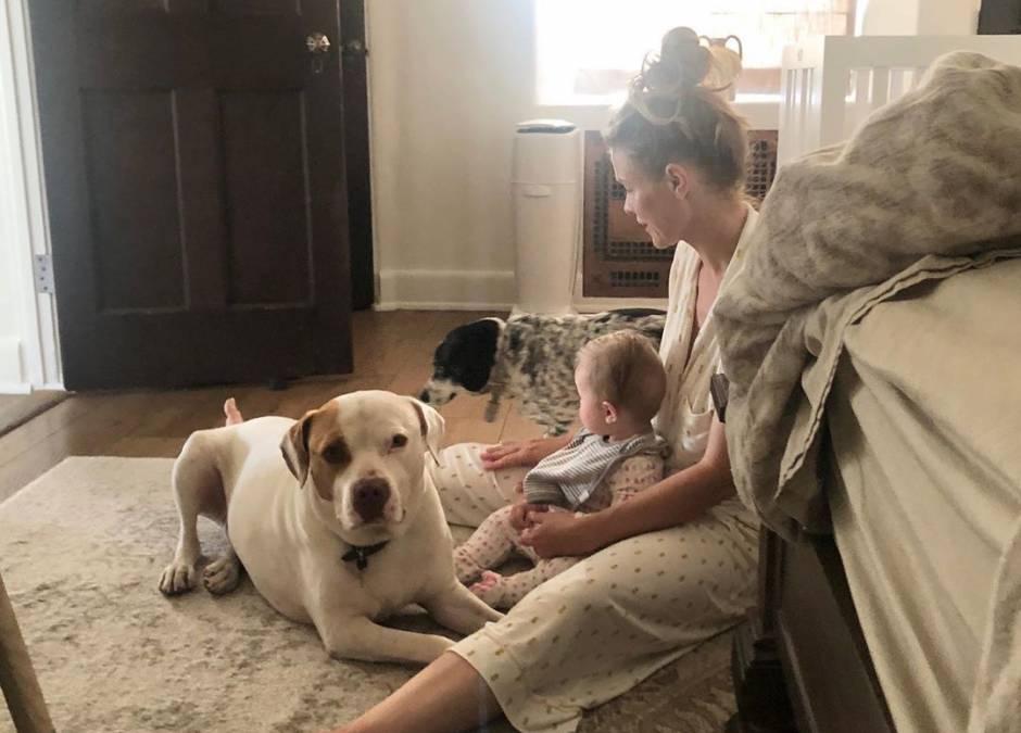 Joanna Krupa z córeczką i psem