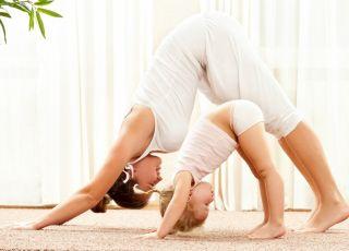 joga, dziecko, sport, mama, ćwiczenia, gimnastyka