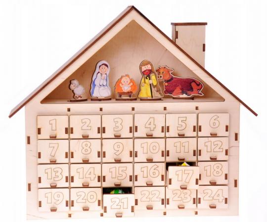 kalendarz adwentowy drewniany domek