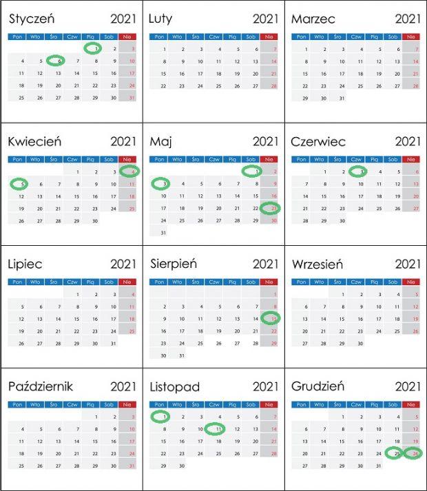 Kalendarz dni wolnych od pracy 2021