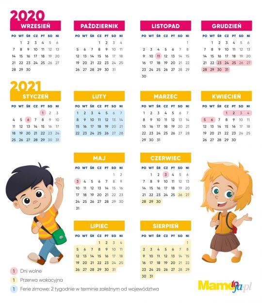 kalendarz roku szkolnego 2020/2021 wolne dni