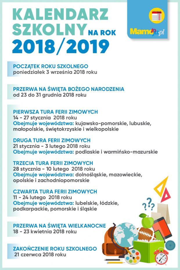 Kalendarz szkolny na rok 2018/2019