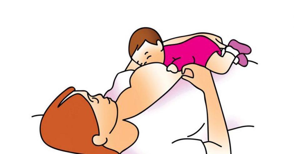 karmienie piersią, pozycja do karmienia piersią, pozycja leżąca do karmienia piersią