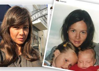 Kinga Rusin z małymi córkami i teraz w siwych włosach