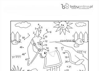 koń, kolorowanka dla dzieci, gra dla dzieci, łączenie kropek, malowanka dla dzieci