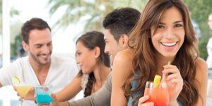 kobieta, alkohol, zabawa, drink, przyjaciele