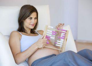 kobieta, mama, ciąża, leżeć, liczydła