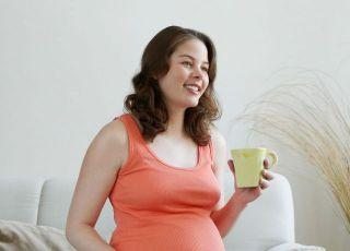 kobieta, mama, ciąża, pić, kubek