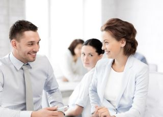 kobieta, mężczyzna, biuro, firma