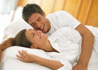 kobieta, mężczyzna, łóżko, sex