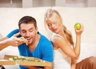 kobieta, mężczyzna, pizza, jedzenie, odchudzanie