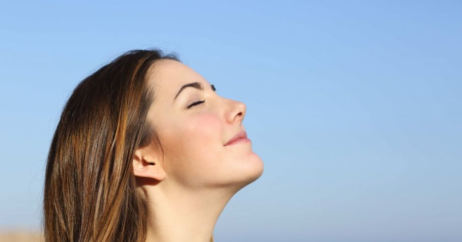kobieta, oddech, wiatr, zdrowie