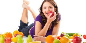 Kobieta, owoce, radość, jedzenie