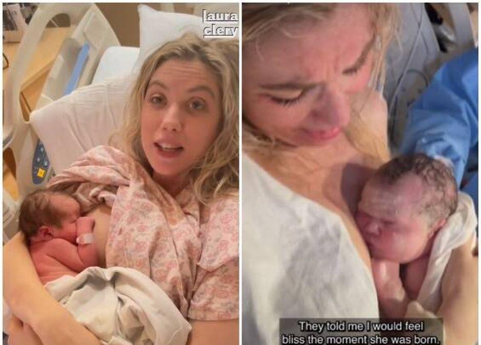 kobieta pokazała na TikToku pierwsze minuty po porodzie