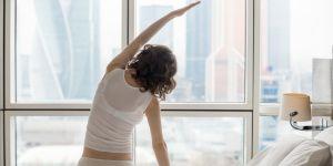 kobieta, poranek, ćwiczenia, trening, świt