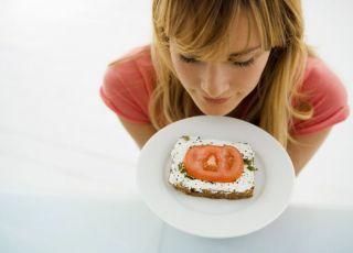 kobieta, talerz, kanapka, jedzenie