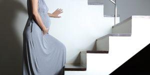 kobieta w ciąży, ciężarna, schody