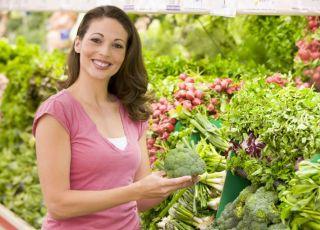 kobieta, zakupy, warzywa