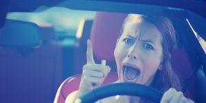 kobieta, złość, krzyk, samochód
