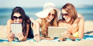 kobiety, plaża, wakacje