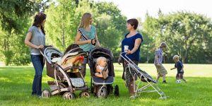 kobiety, rozmowy, park, wózki