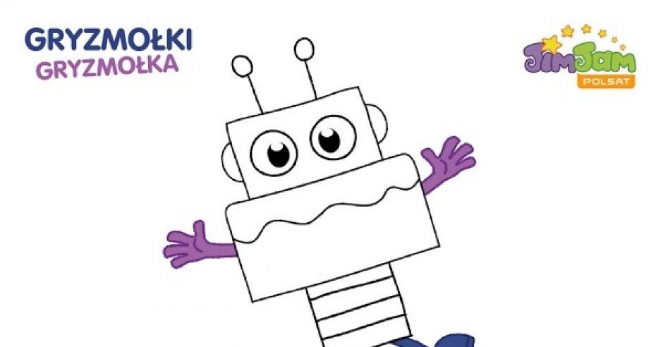 Kolorowanka do druku - robot. Gryzmołki z Gryzmołkiem