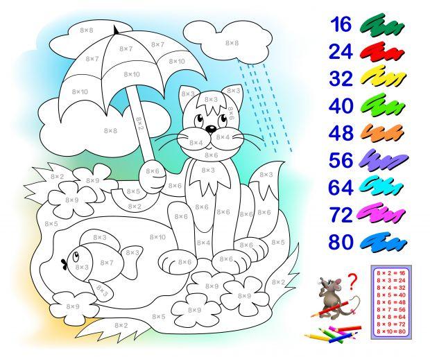kolorowanka kot i tabliczka mnożenia