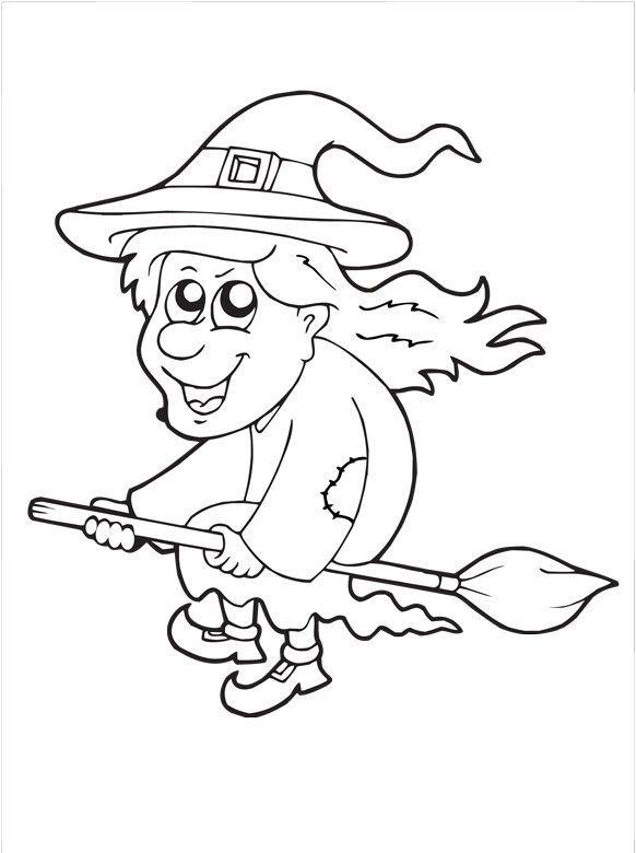 Kolorowanki na Halloween: wiedźma