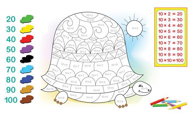 kolorowanka żółw i tabliczka mnożenia