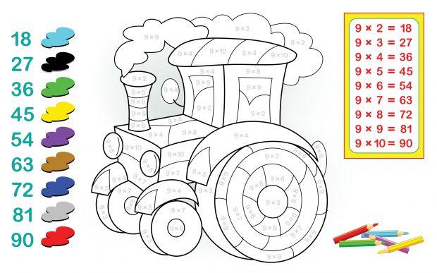 kolorowanka traktor z tabliczką mnożenia