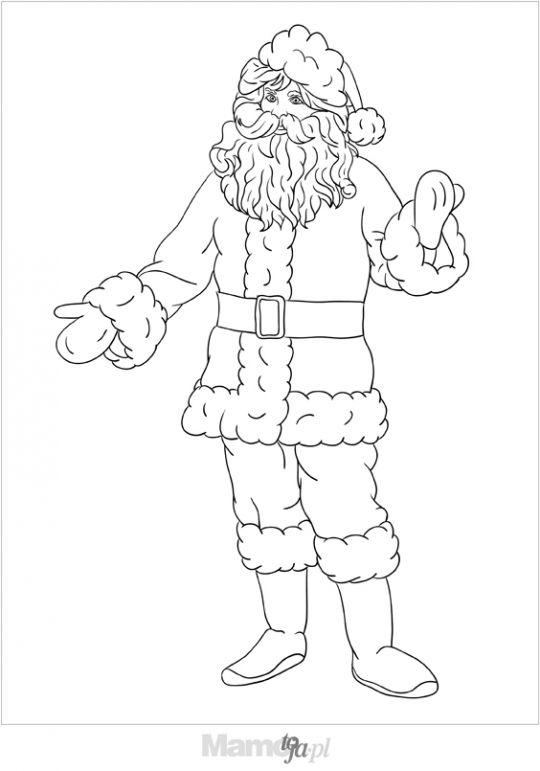 stojący Mikołaj kolorowanka