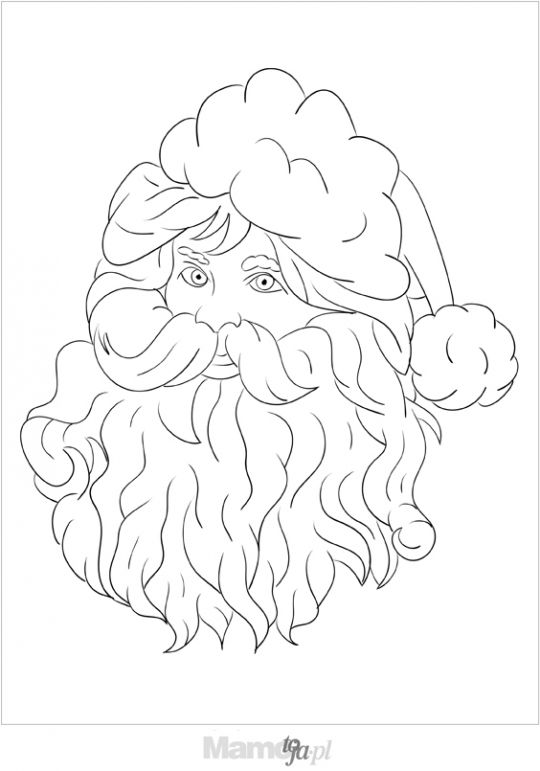 głowa Mikołaja - kolorowanka