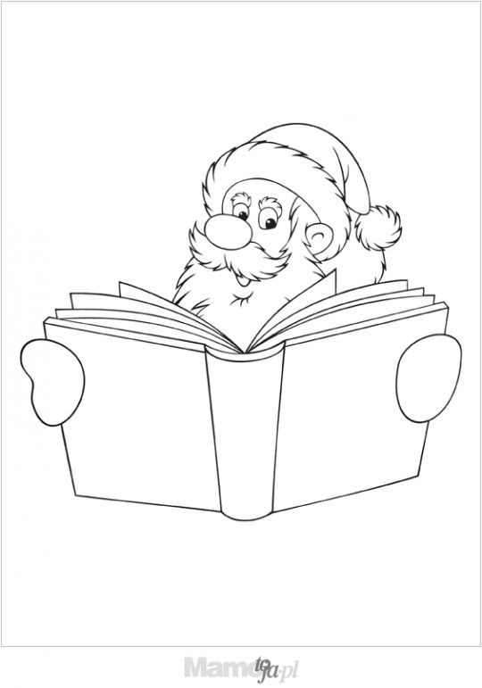 Mikołaj z książką kolorowanka