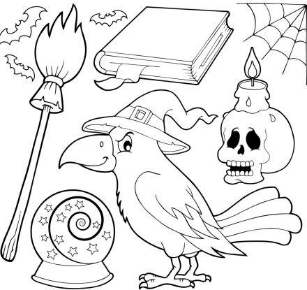 kolorowanki na andrzejki miotła, kruk, księga