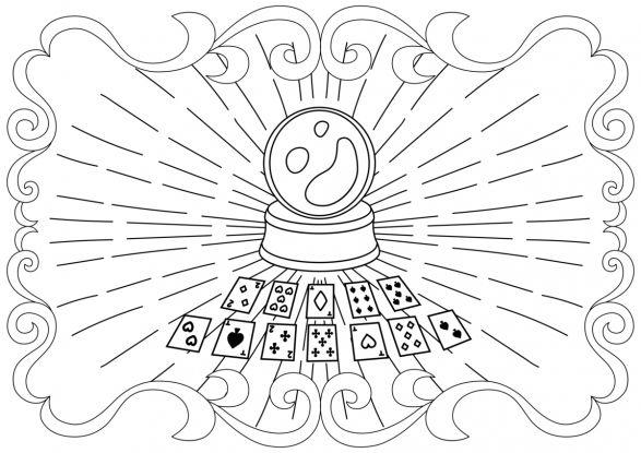 kolorowanki na andrzejki - wróżby z kuli i kart