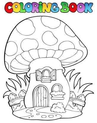 kolorowanki grzyby - domek