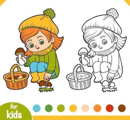 kolorowanki grzyby - dziewczynka z grzybkiem