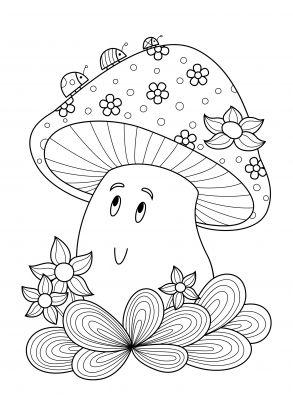 kolorowanki grzyby - uśmiechnięty grzybek