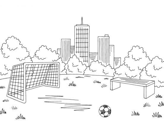kolorowanki piłkarskie: boisko
